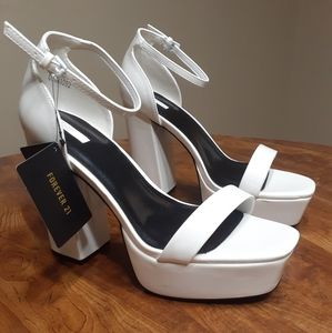 White Patent Leather Platform Heels
